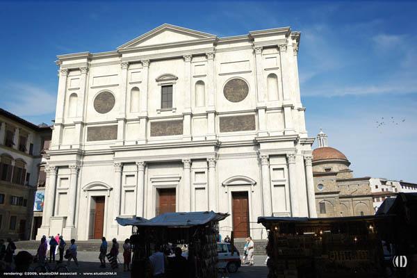 rendering della facciata di Michelangelo per San Lorenzo a Firenze